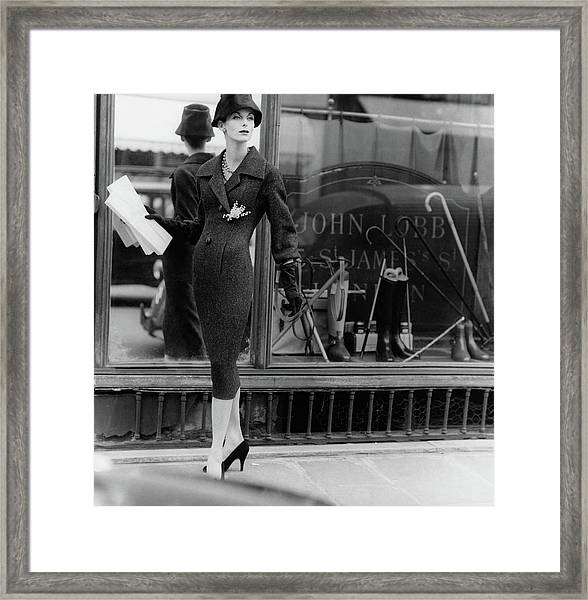 Anne St. Marie Wearing A Dior Coat Framed Print
