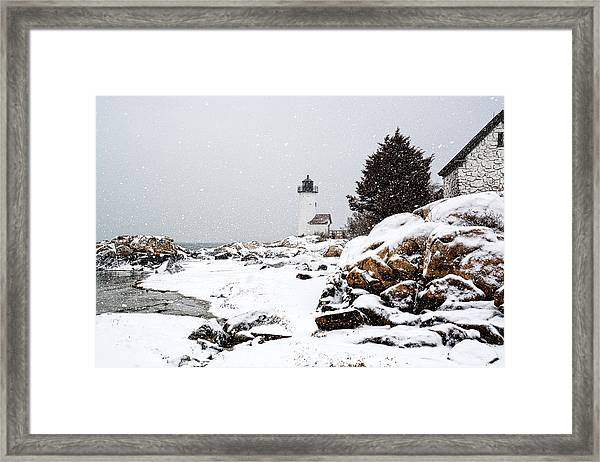 Annisquam Light-snow Storm Framed Print