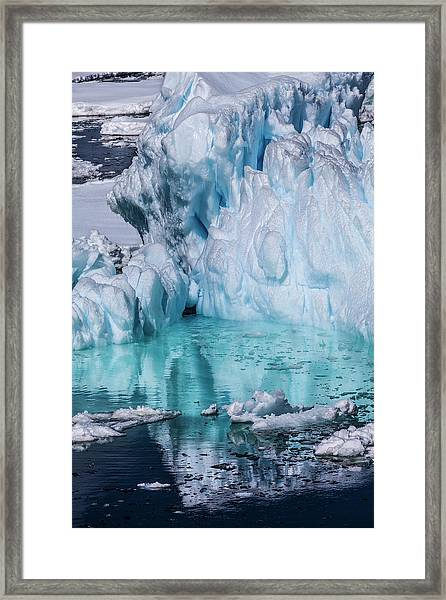 Antarctica Colorful Iceberg And Sea Ice Framed Print