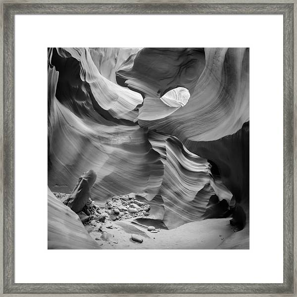 Antelope Canyon Rock Formations Bw Framed Print by Melanie Viola