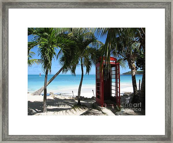 Antigua - Phone Booth Framed Print