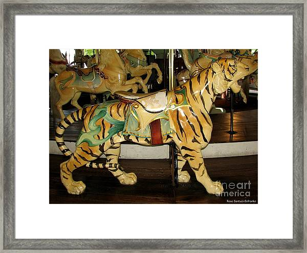 Antique Dentzel Menagerie Carousel Tiger Framed Print
