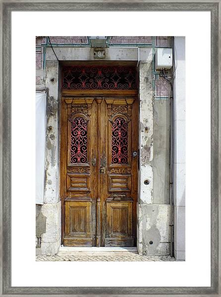 Antique Door In Lisbon Framed Print
