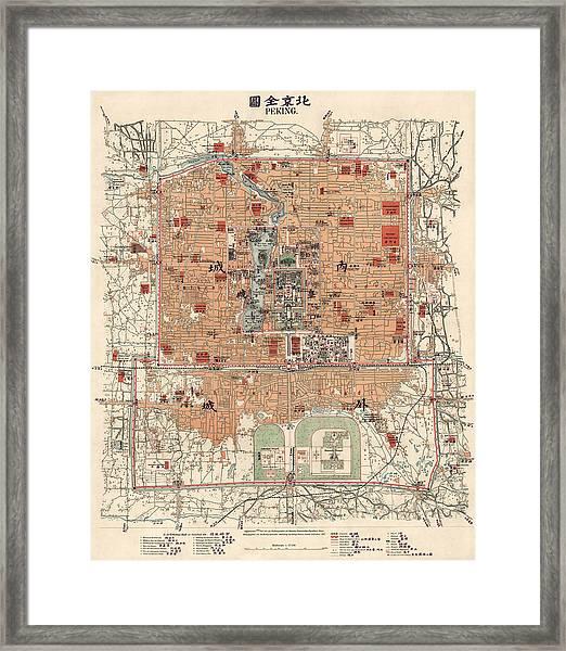Antique Map Of Beijing China - 1914 Framed Print