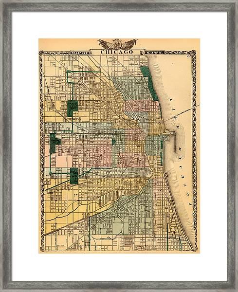 Antique Map Of Chicago 1876 Framed Print