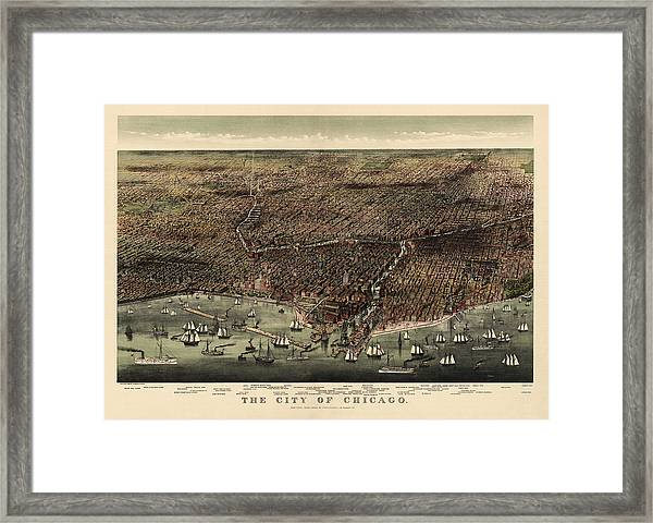 Antique Map Of Chicago By Currier And Ives - 1892 Framed Print