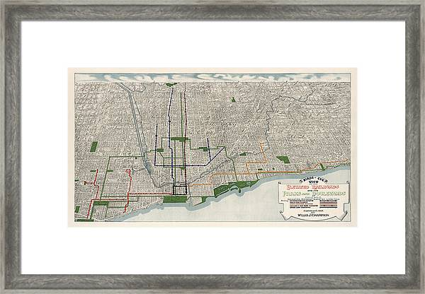 Antique Map Of Chicago By Willis J. Champion - 1908 Framed Print