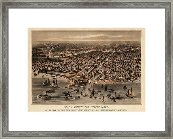 Antique Map Of Chicago Illinois As It Appeared In 1871 Before The Fire Framed Print