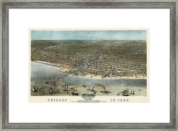 Antique Map Of Chicago Illinois By A. Ruger - 1868 Framed Print