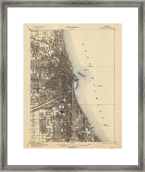 Antique Map Of Chicago - Usgs Topographic Map - 1901 Framed Print