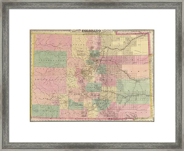 Antique Map Of Colorado By G.w. And C.b. Colton And Co. - 1878 Framed Print by Blue Monocle