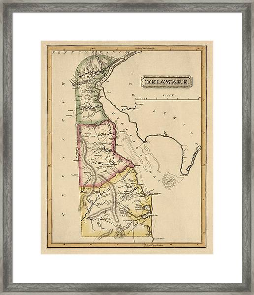 Antique Map Of Delaware By Fielding Lucas - Circa 1817 Framed Print by Blue Monocle