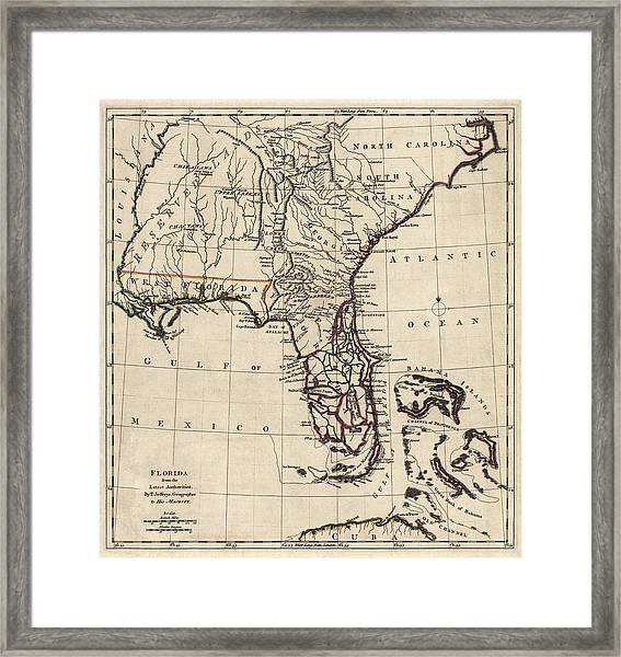 Antique Map Of Florida And The Southeast By Thomas Jefferys - 1768 Framed Print