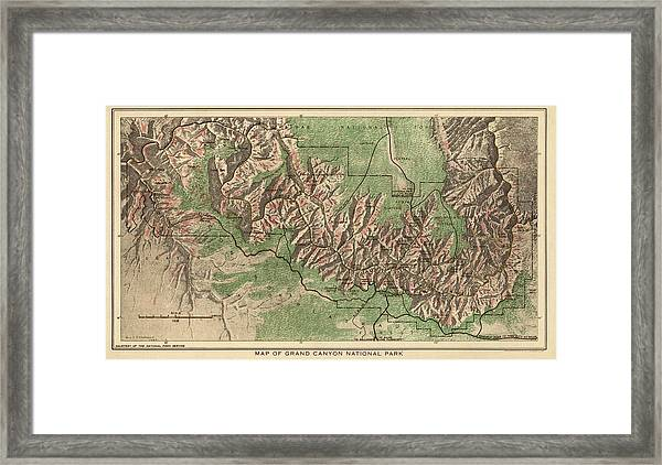 Antique Map Of Grand Canyon National Park By The National Park Service - 1926 Framed Print