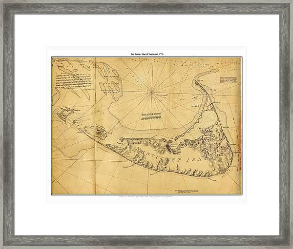 Antique Map Of Nantucket Framed Print