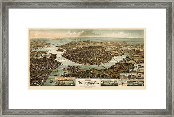 Antique Map Of Norfolk And Portsmouth Virginia By H. Wellge - 1892 Framed Print by Blue Monocle
