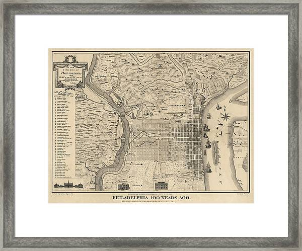 Antique Map Of Philadelphia By P. C. Varte - 1875 Framed Print