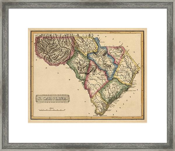 Antique Map Of South Carolina By Fielding Lucas - Circa 1817 Framed Print by Blue Monocle