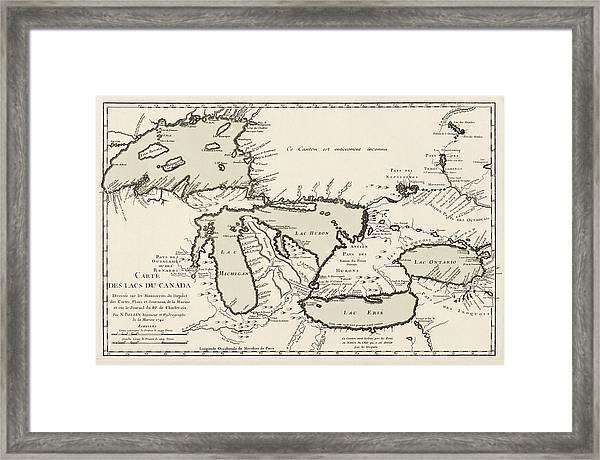 Antique Map Of The Great Lakes By Jacques Nicolas Bellin - 1742 Framed Print