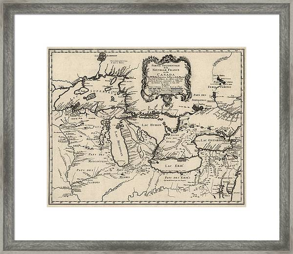 Antique Map Of The Great Lakes By Jacques Nicolas Bellin - 1755 Framed Print