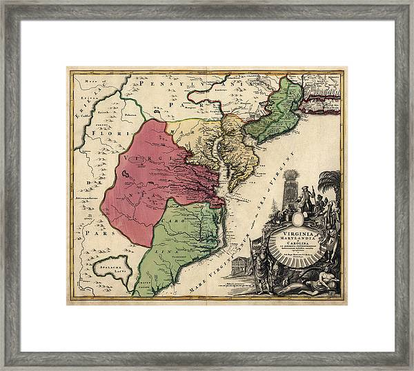 Antique Map Of The Middle American Colonies By Johann Baptist Homann - Circa 1759 Framed Print by Blue Monocle