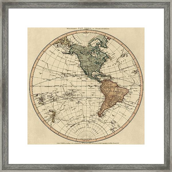 Antique Map Of The Western Hemisphere By William Faden - 1786 Framed Print