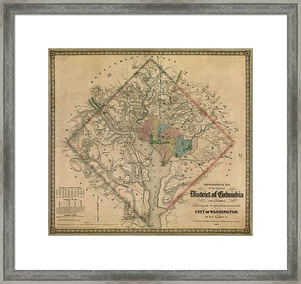Antique Map Of Washington Dc By Colton And Co - 1862 Framed Print