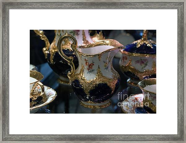 Antique Porcelain Coffee Set In Show Case Framed Print
