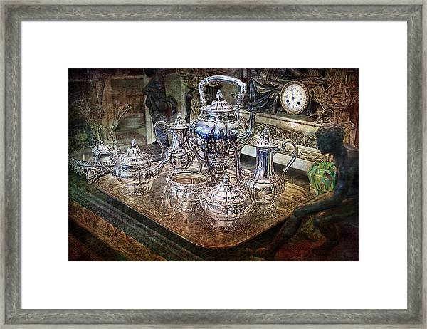 Antique Tiffany Sterling Silver Coffee Tea Set Framed Print