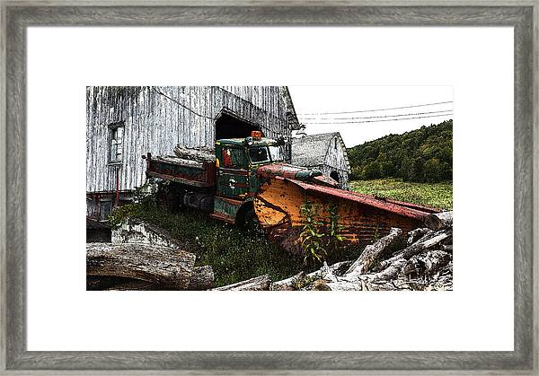 Antique Truck With Plow Framed Print