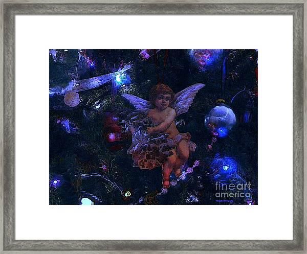 Antiqued Angel Blue Framed Print by Roxy Riou