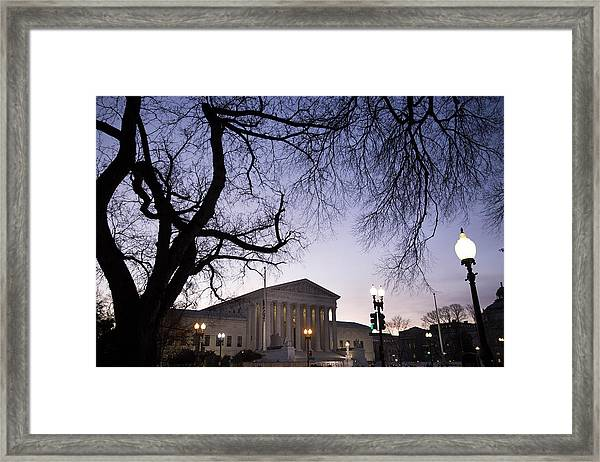 Antonin Scalia's Body Lies In Repose In Great Hall Of U.s. Supreme Court Framed Print by Drew Angerer