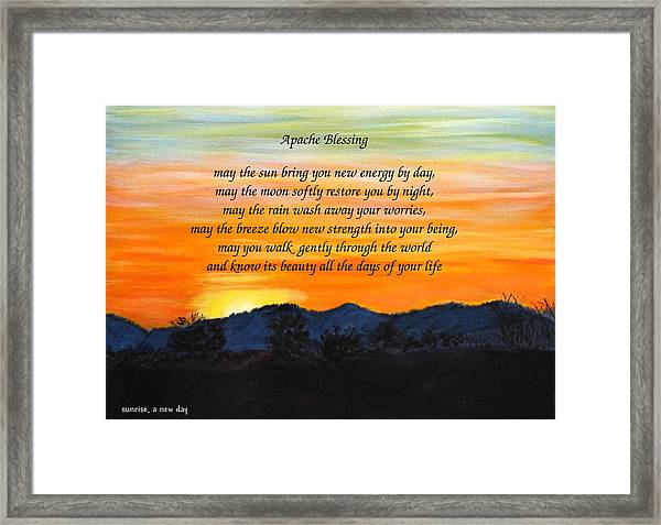Apache Blessing-sunrise Framed Print