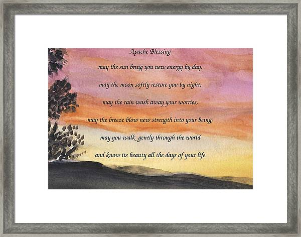 Apache Blessing With Sunset Framed Print