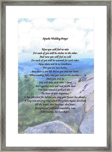 Apache Wedding Prayer Framed Print