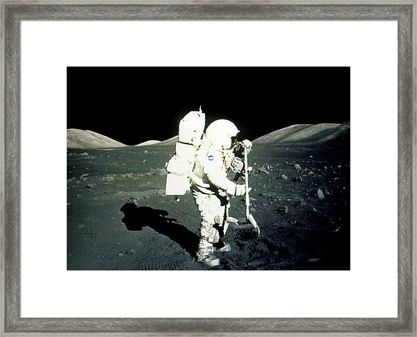 Apollo 17 Astronaut Collecting Lunar Rock Samples Framed Print by Nasa/science Photo Library