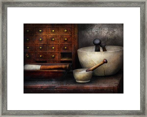 Apothecary - Pestle And Drawers Framed Print