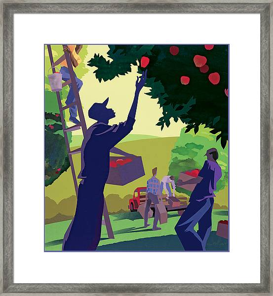 Apple Pickers Framed Print