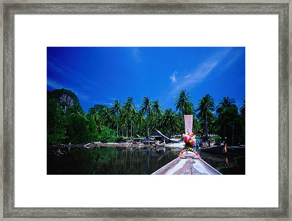Approaching Ao Bakao By Longboat On The Framed Print