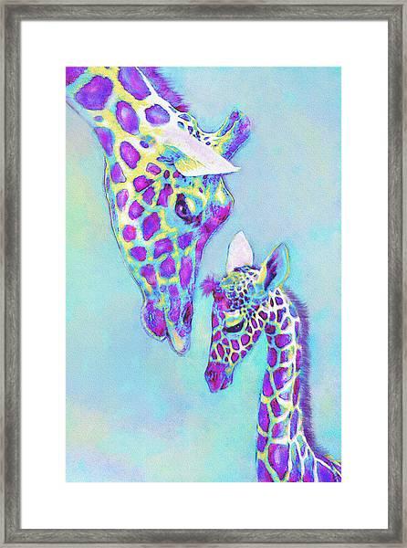 Aqua And Purple Loving Giraffes Framed Print