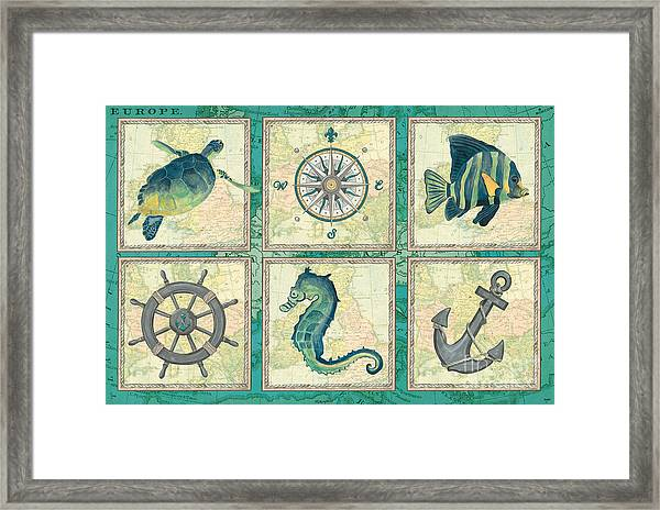 Aqua Maritime Patch Framed Print