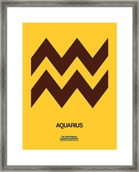 Aquarius Zodiac Sign Brown Framed Print