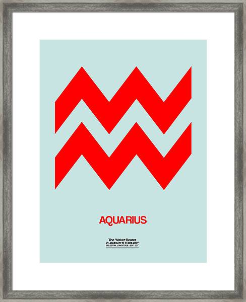 Aquarius Zodiac Sign Red Framed Print