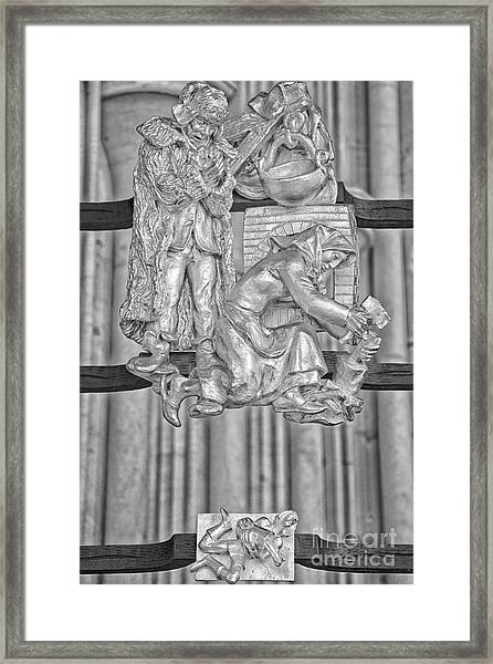 Aquarius Zodiac Sign - St Vitus Cathedral - Prague - Black And White Framed Print by Ian Monk