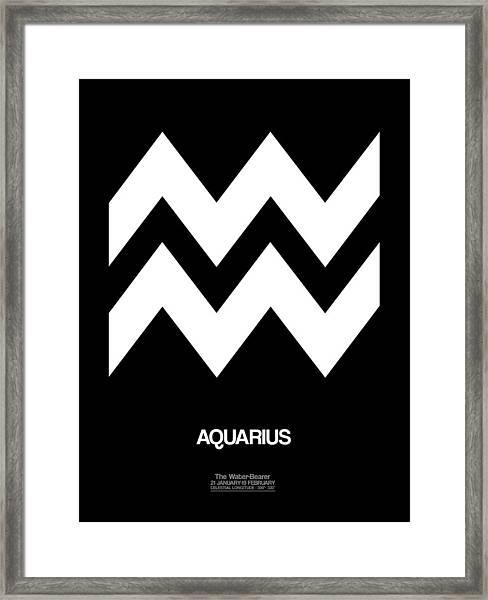 Aquarius Zodiac Sign White Framed Print