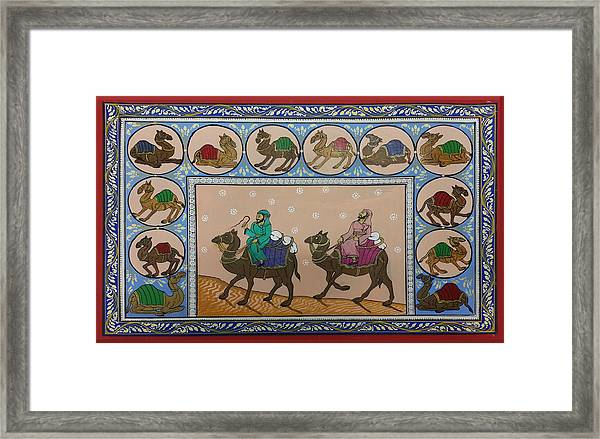 Arab Men In Desert Framed Print