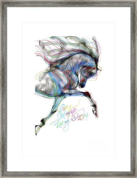 Arabian Horse Trotting In Air Framed Print