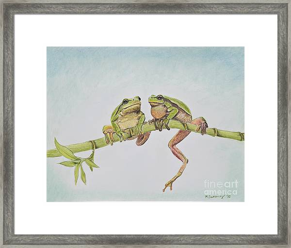 Arboreal Frogs In Pastel Framed Print