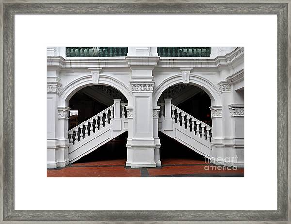 Arch Staircase Balustrade And Columns Framed Print