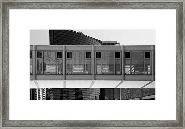 Architectural Pattern Glass Bridge Black White Framed Print